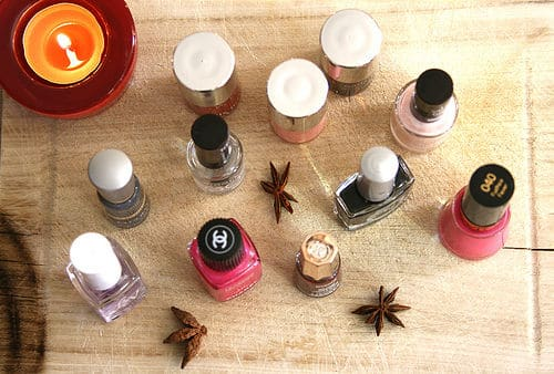 Nail polishes all lined up