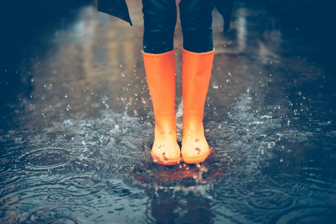 Orange rain boots