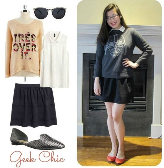 Geek chic skater skirt outfit
