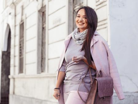 Woman in pastel coat