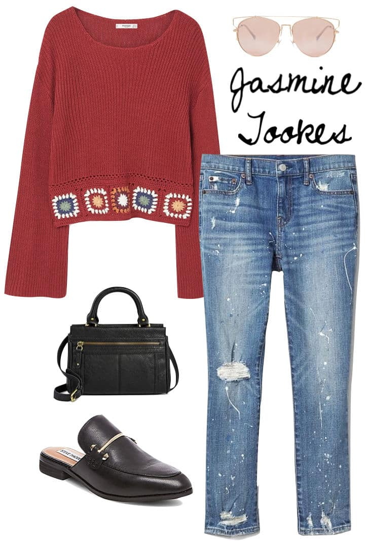Elsa Hosk Outfit: red straight leg mom jeans, white off the shoulder ruffled crop top, white quilted chainlink strap bag, chunky square sunglasses, and black buckled footbed sandals