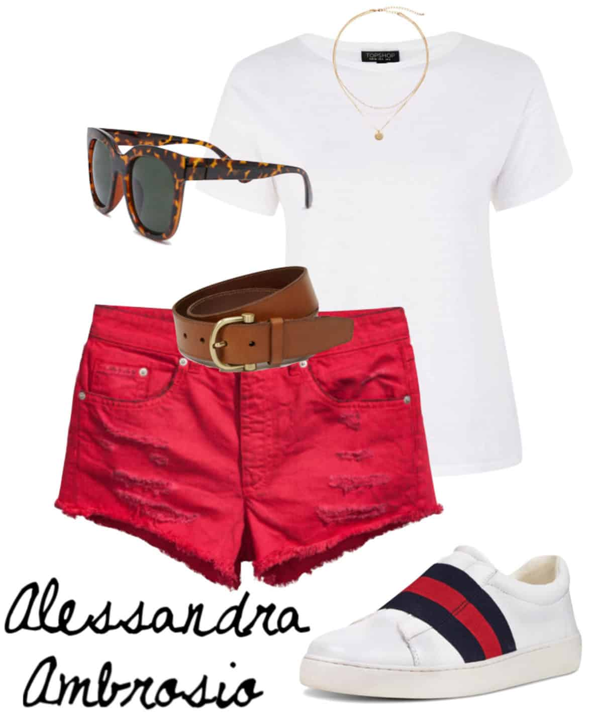 Alessandra Ambrosio Outfit: white t-shirt, gold layered necklace, tortoise sunglasses, red denim shorts, brown and gold buckle belt, slip on sneakers with stripe