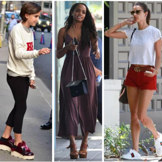 Celebrity Street Style of the Week: Millie Bobby Brown wearing a graphic Be Nice sweatshirt, cropped black pants, and platform sneakers with fur accents, Rachel Lindsay wearing a maroon jumpsuit, brown platform wooden heel sandals, a black shoulder bag, and long gold pendant necklace, and Alessandra Ambrosio wearing a white t-shirt, red jean shorts, a brown and gold Gucci belt, tortoise sunglasses, and white sneakers with side stripes