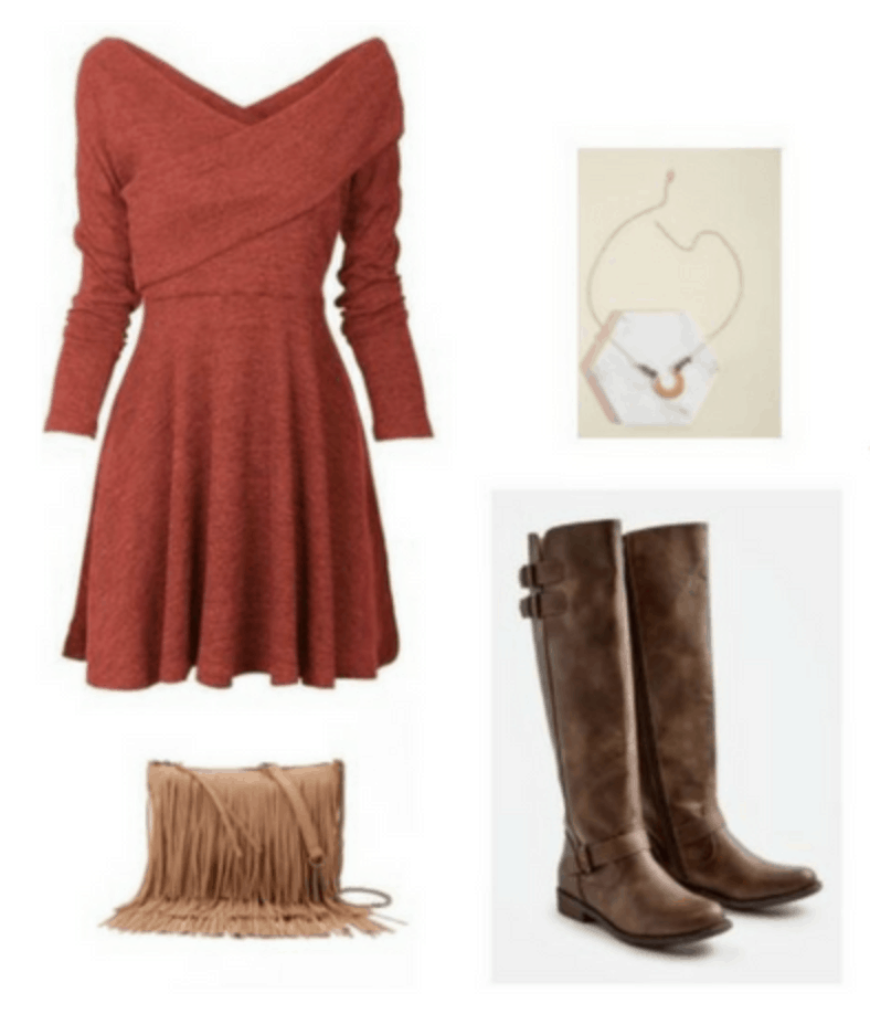 Cozy fall weekend outfit with burnt orange dress, over the knee boots, fringe bag, necklace