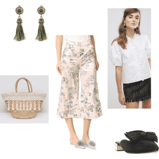 julia engel outfit 1: floral pants, woven bag, white top, earrings