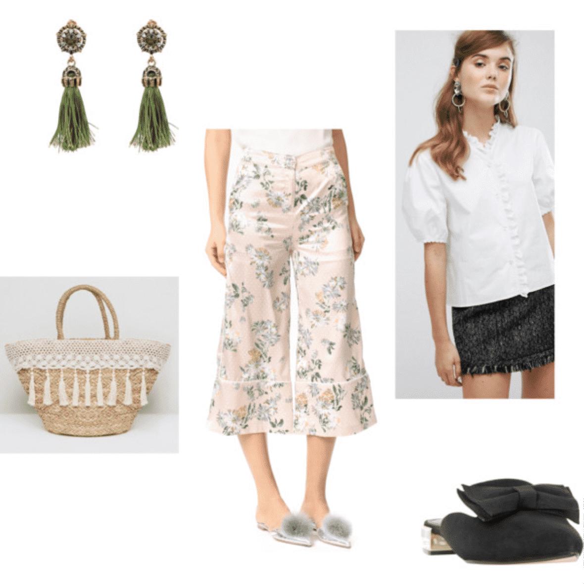 julia engel outfit 1: floral pants, woven bag, white top, earrings