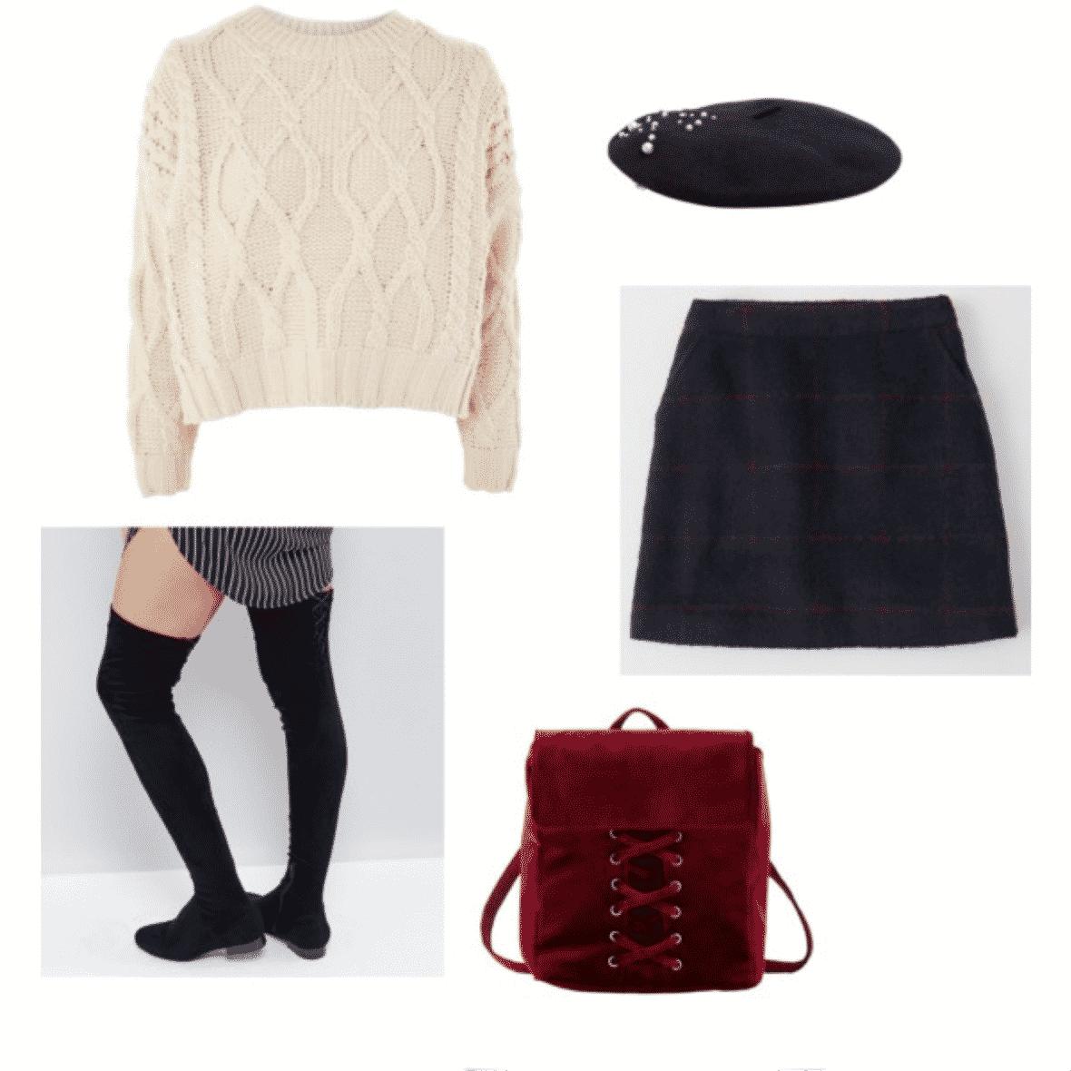 julia engel outfit 3: cream sweater, knee high socks, skirt, beret