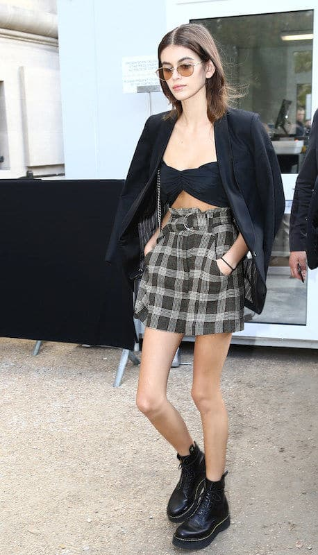 Kaia gerber plaid skirt outfit