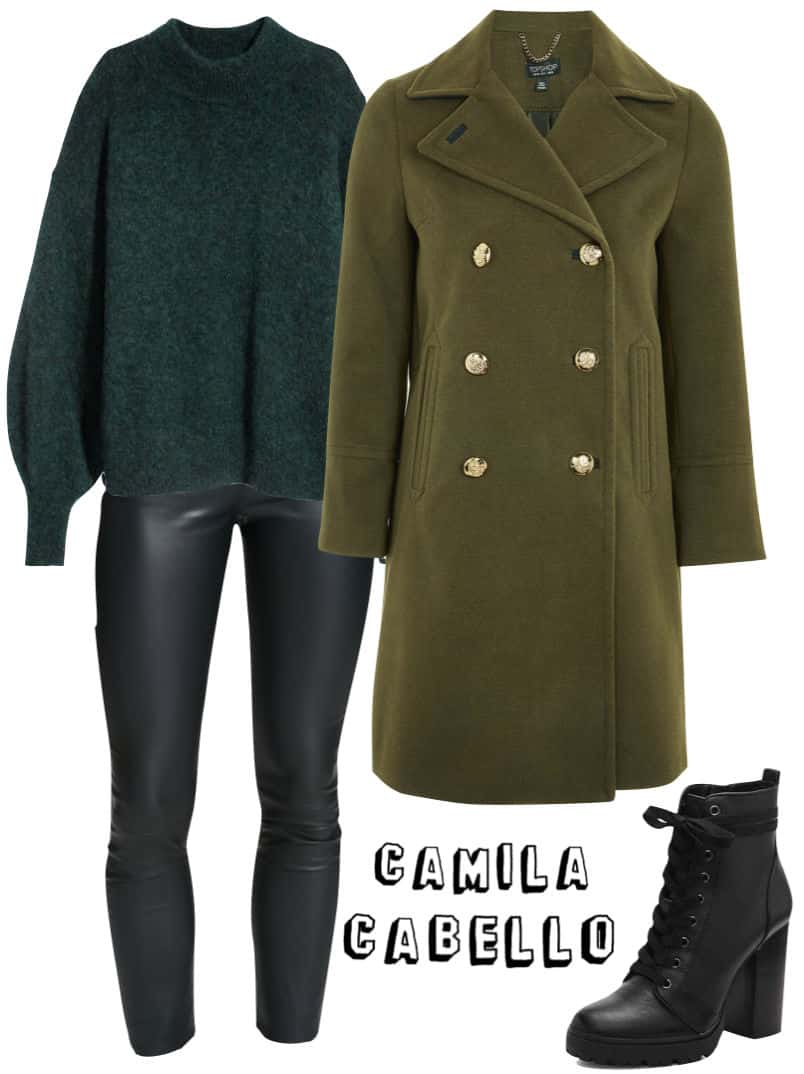 Camila Cabello Outfit: chunky green sweater, faux leather skinny pants, olive green pea coat, black lace-up platforms combat boots