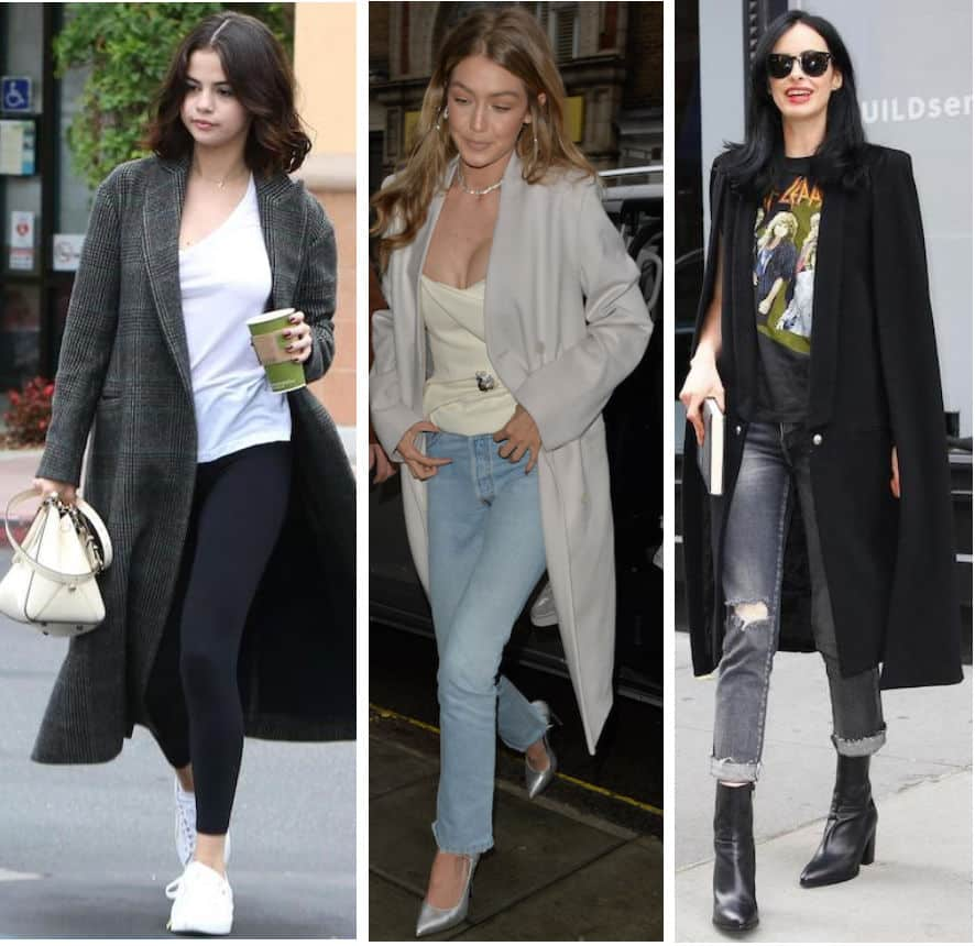 Celebrity long coat outfits