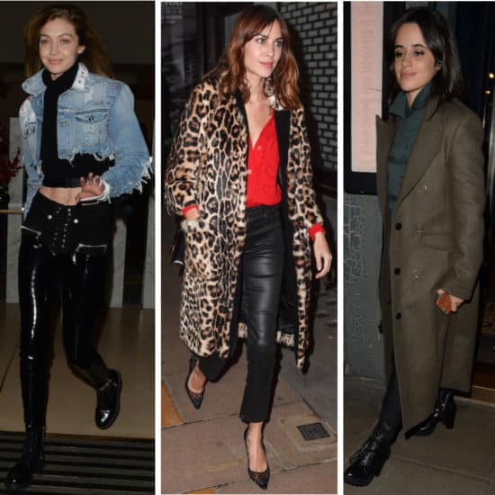 Celebs: Gigi Hadid wearing a cropped black turtleneck top, cropped denim jacket, black patent leather lace-up pants, and black combat boots, Alexa Chung wearing a red blouse, black leather pants, a leopard print faux leather jacket, and black pointy-toe pumps, and Camila Cabello wearing a forrest green sweater, olive green long pea coat, black leather pants, and black heeled lace-up combat boots
