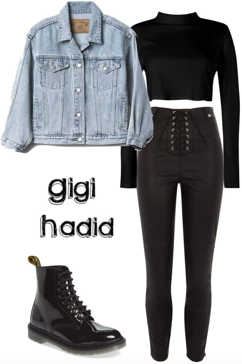 Gigi Hadid Outfit: cropped black turtleneck top, cropped denim jacket, black faux leather lace-up pants, patent black combat boots