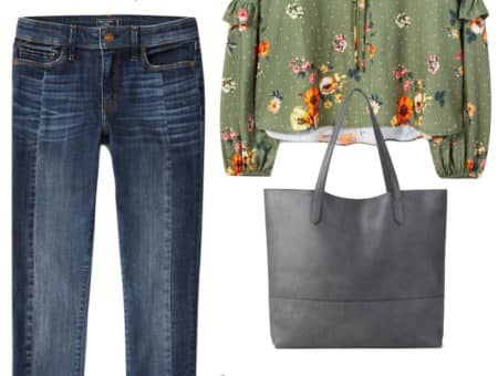 Jenna Dewan Tatum Outfit: floral tie-front blouse, side panel skinny jeans, gray tote bag, dark aviator sunglasses, and gray ankle booties