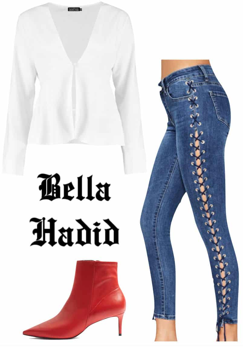 Bella Hadid Outfit: white button front blouse, lace-up side jeans, and red pointy toe ankle booties