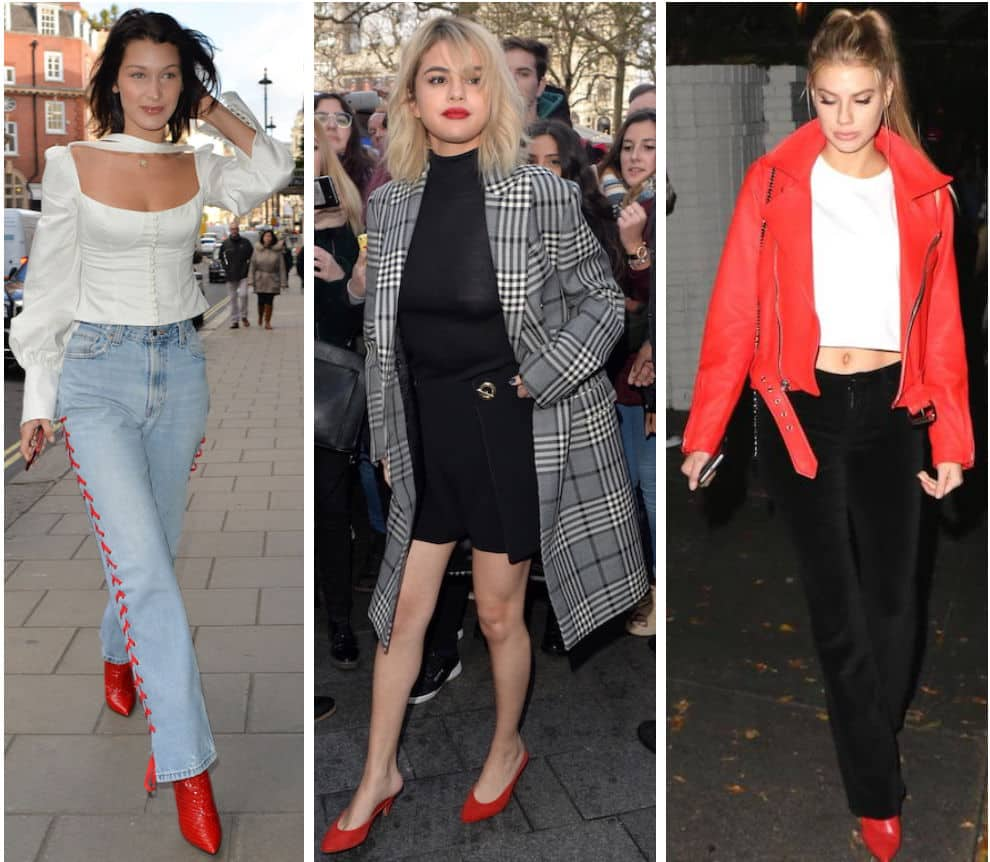 Celebrity Street Style of the Week: Bella Hadid wearing a white button front blouse, lace-up side jeans, and red pointy toe ankle boots, Selena Gomez wearing a black ribbed turtleneck, a black mini skirt with a metal detail, a gray and black plaid long coat, and red mules, and Charlotte McKinney wearing a red leather Moto jacket, a cropped white t-shirt, black corduroy flared pants, and red pointy toe heels