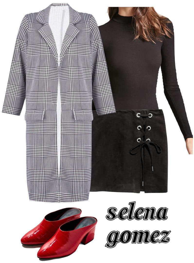 Selena Gomez Outfit: plaid long coat, black mock neck bodysuit, black mini skirt with metal eyelets, red mule heels