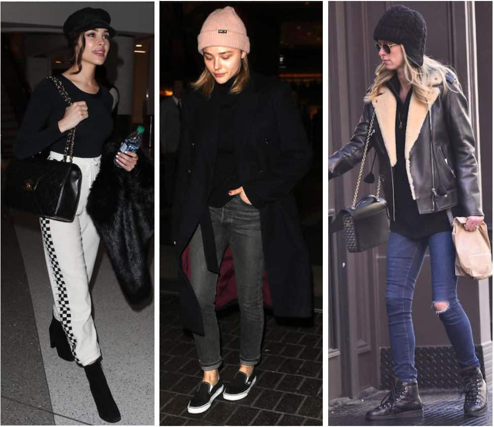 Celebrity Street Style of the Week: Olivia Culpo wearing a black long sleeve t-shirt, black cabby hat, black quilted Chanel bag, white jogger sweatpants with checkered sides, and black booties, Chloe Moretz wearing a blush pink knit beanie hat, black sweater, long black coat, gray straight leg jeans, and black Vans slip on sneakers, and Nicky Hilton wearing a black shearling Moto jacket, black sweater, dark wash skinny jeans with knee rips, black lace up winter boots, and a black quilted handbag