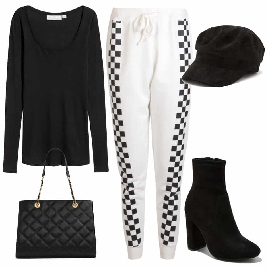 Olivia Culpo Outfit: black long sleeve top, white jogger sweatpants with checkered sides, black cabby hat, black sock booties, and black quilted handbag