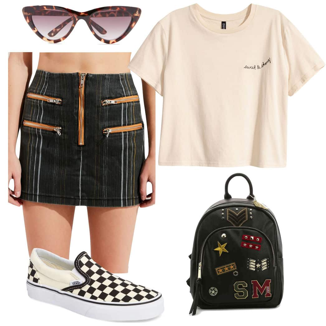 Emma Roberts Outfit: striped zipper front mini skirt, tortoise cat eye sunglasses, Vans checkered slip-on sneakers, small graphic print t-shirt, patched backpack