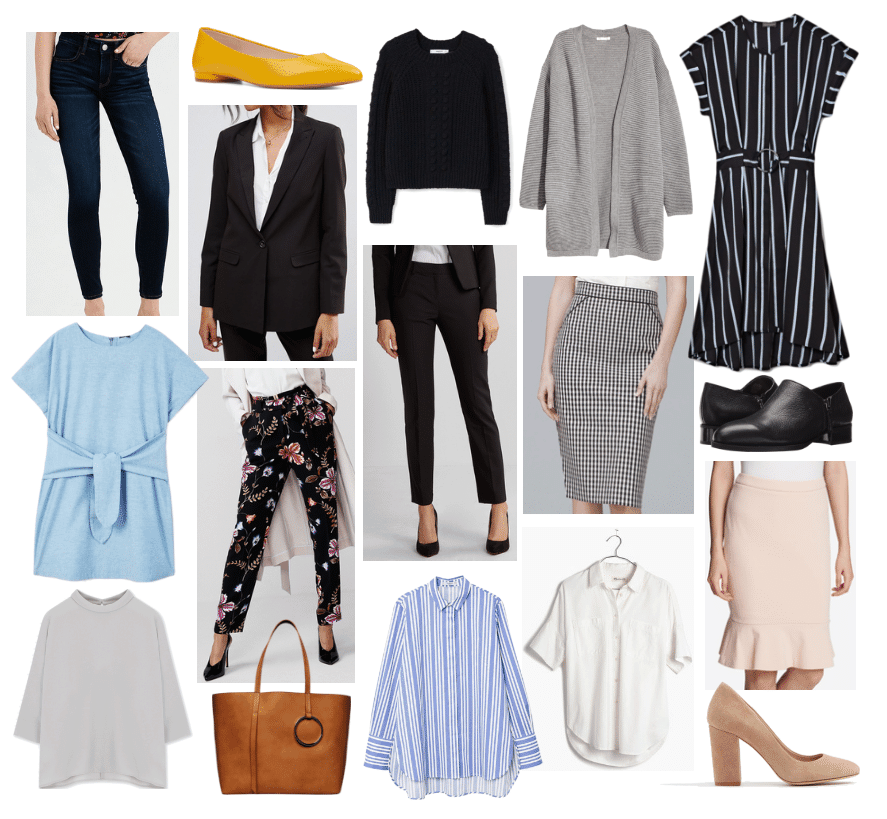 A 17 piece capsule wardrobe for work