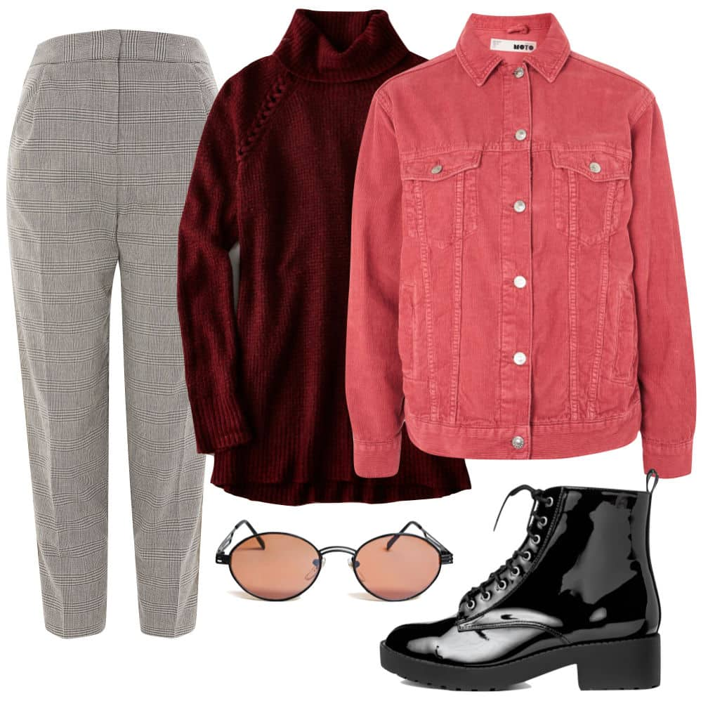 Gigi Hadid Outfit: checked side stripe tapered pants, Burgundy turtleneck sweater, oversized red cord jacket, black patent lace up booties, and vintage oval sunglasses
