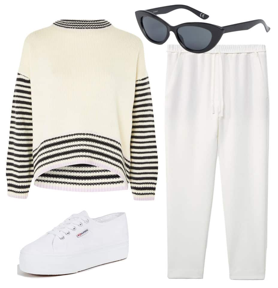 Gigi Hadid Outfit: multicolor striped sweater, white high waist cropped trousers, black cat-eye sunglasses, white platform sneakers