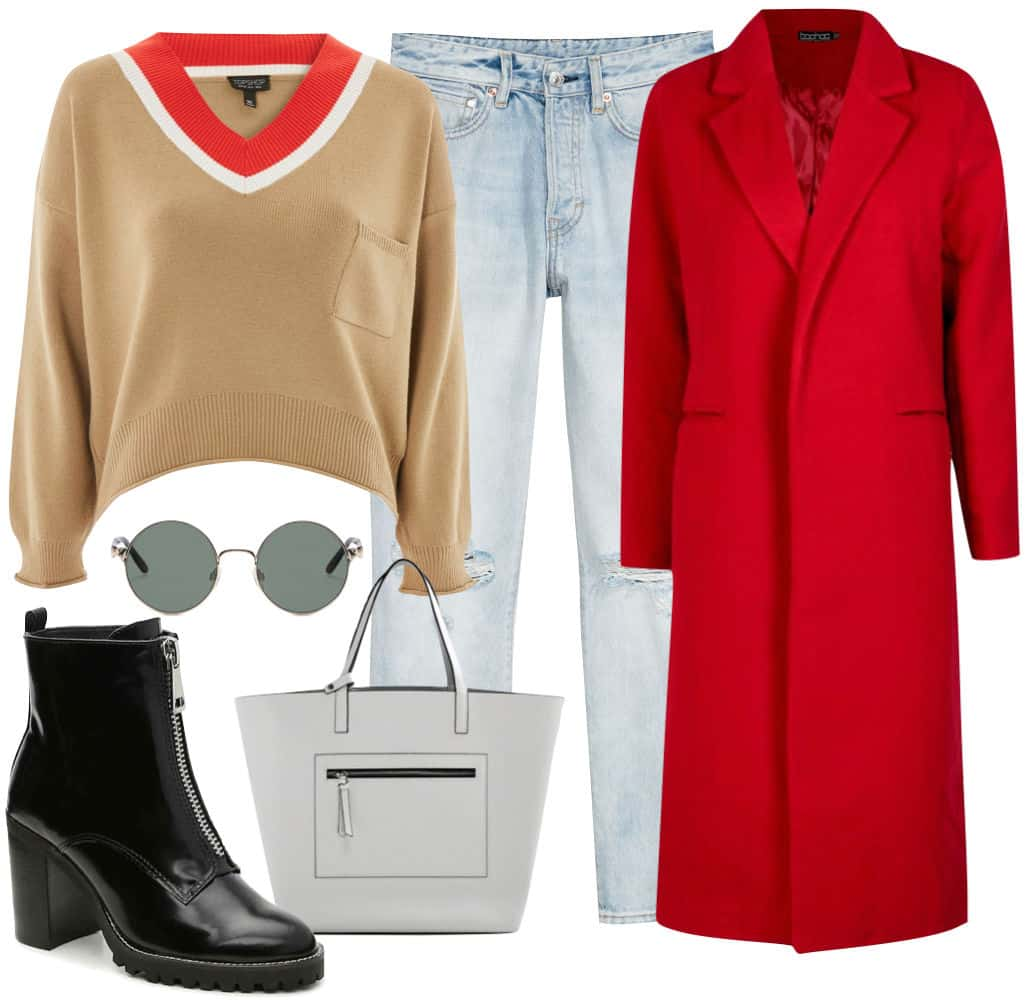 Lucy Hale Outfit: color blocked sweater, light wash straight jeans, red long coat, round sunglasses, white satchel bag, and black ankle booties with zipper front detail