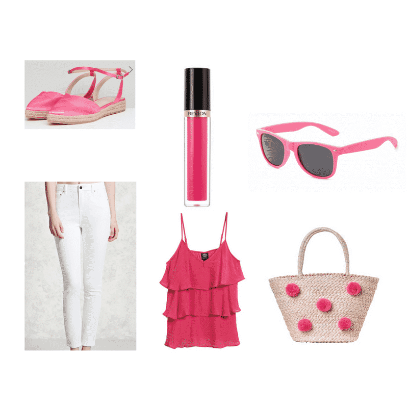 Pink tote bag outfit with ruffle top, white jeans, and espadrilles