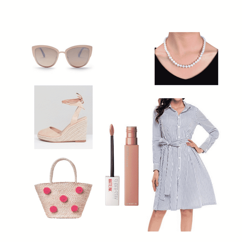 Pink tote bag outfit with pearls, striped dress, platform espadrilles