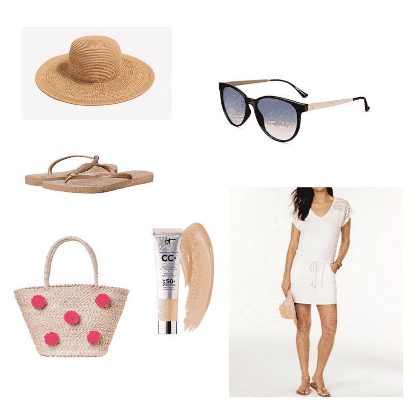 Pink tote bag outfit with white dress, sun hat, sandals
