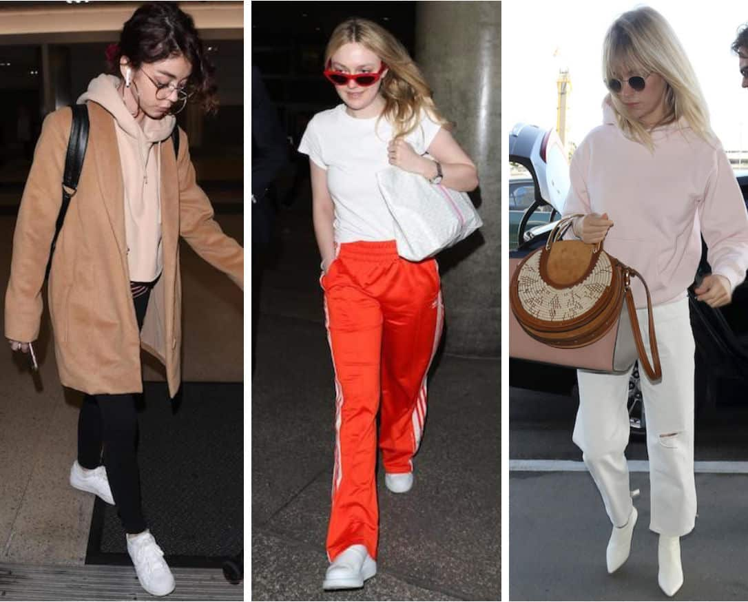 Celebs: Sarah Hyland wearing a nude cropped hoodie, a camel colored mid-length coat, black leggings, hoop earrings, a black leather backpack, and white low-top sneakers, Dakota Fanning wearing red cat-eye sunglasses, a white t-shirt, red and white striped track pants, white sneakers, and a white shoulder bag, and January Jones wearing a light pink hoodie sweatshirt, round sunglasses, white cropped straight leg jeans, white ankle booties, and carrying pink and brown handbags