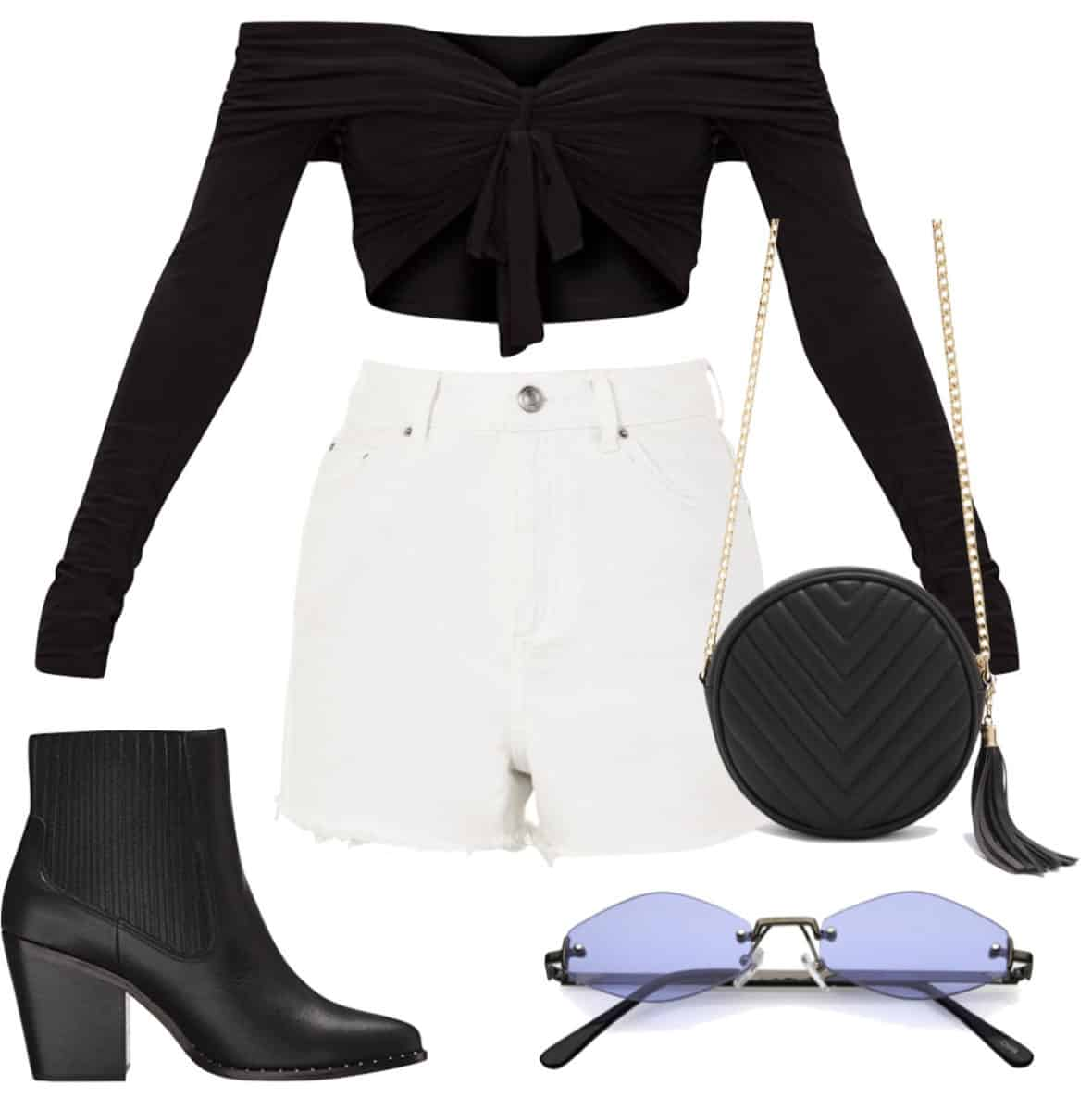 Shay Mitchell Outfit: black off the shoulder tie-front crop top, white high rise denim shorts, black chainlink crossbody bag, black almond toe booties, rimless vintage-inspired sunglasses
