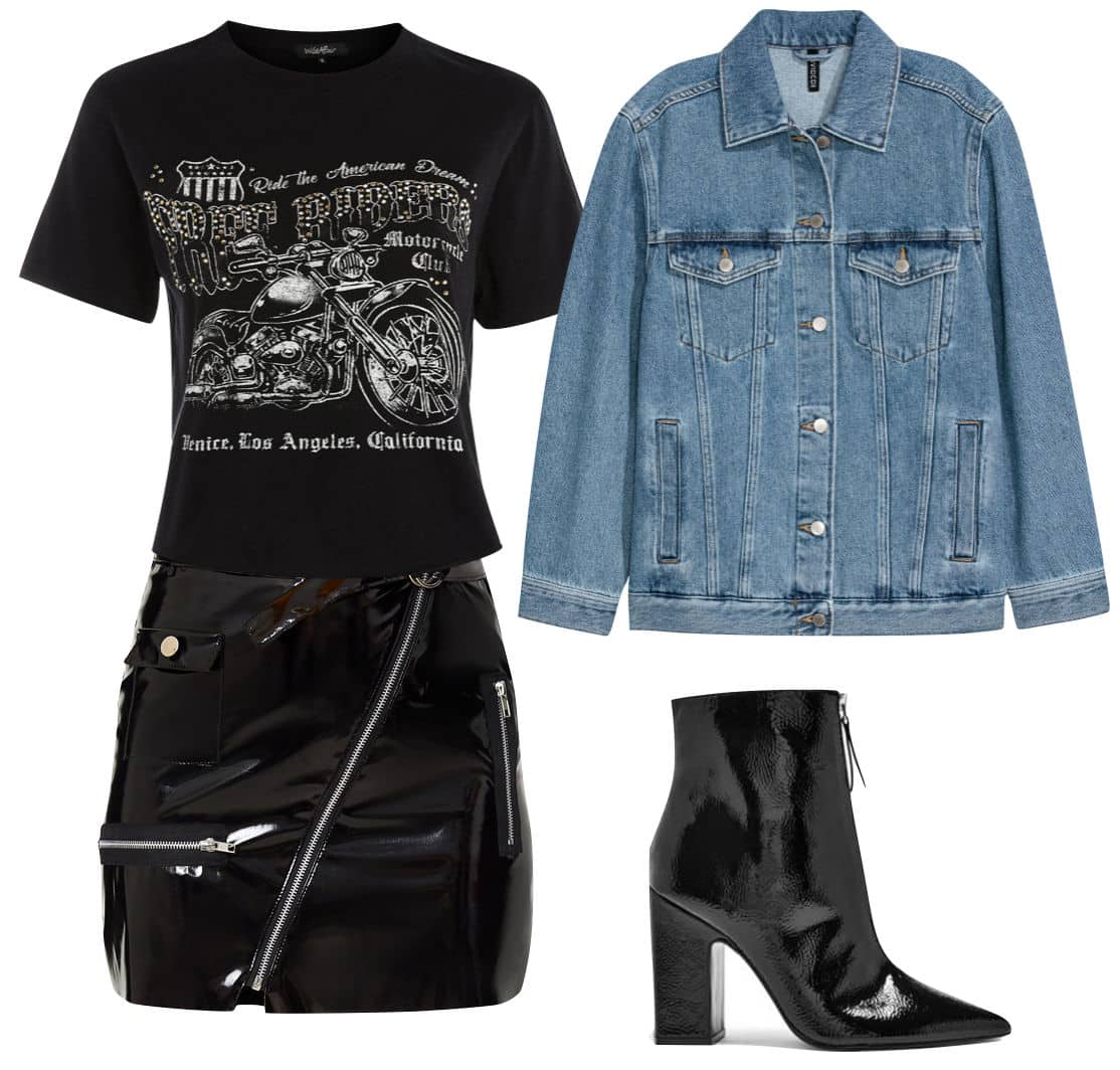 Alessandra Ambrosio Outfit: graphic short sleeve t-shirt, black vinyl mini skirt, denim jacket, and black zipper-front ankle booties