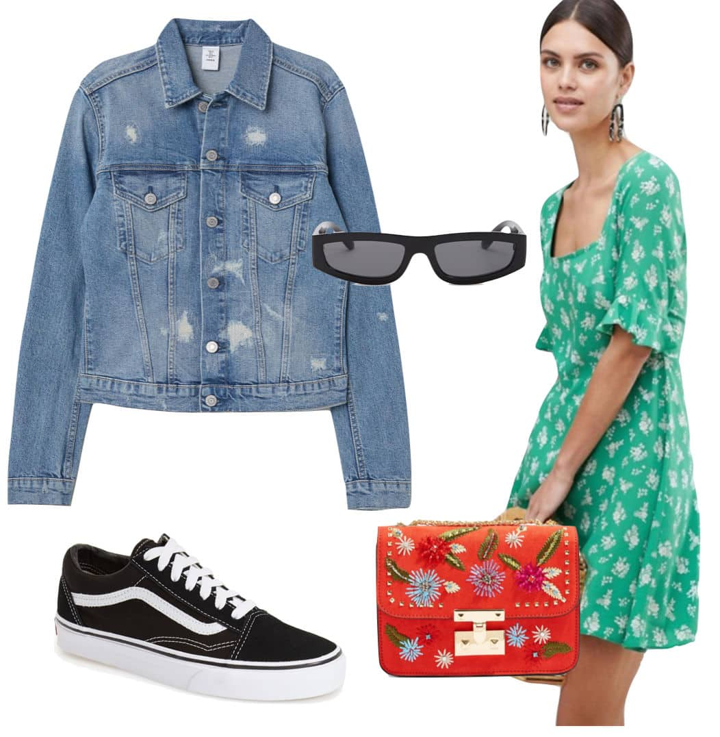 Behati Prinsloo outfit: green and white floral print dress, jean jacket, small rectangle sunglasses, an embellished red shoulder bag, and black Vans low-top sneakers
