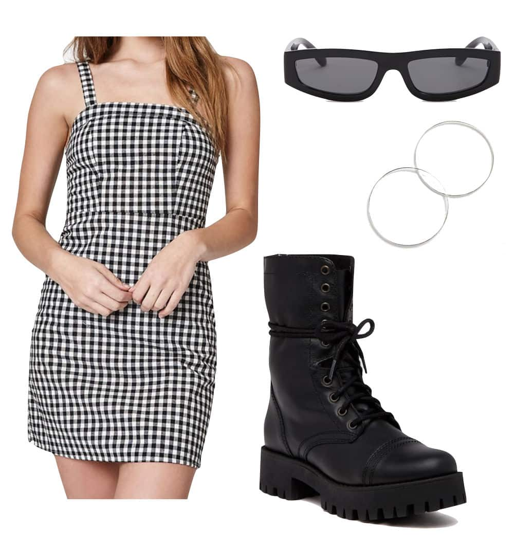 Bella Hadid Outfit: gingham print mini dress, small rectangle sunglasses, thin silver hoop earrings, and black platform combat boots