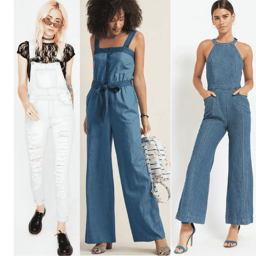 Denim jumpsuit style with white distressed denim jumpsuit, light wash strap jumpsuit, and medium wash halter jumpsuit.