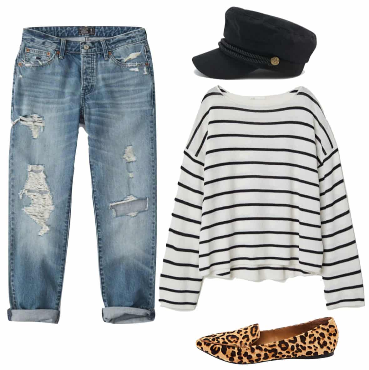 Jasmine Tookes Outfit: ripped boyfriend jeans, striped sweater, black cabby hat, and leopard print flats