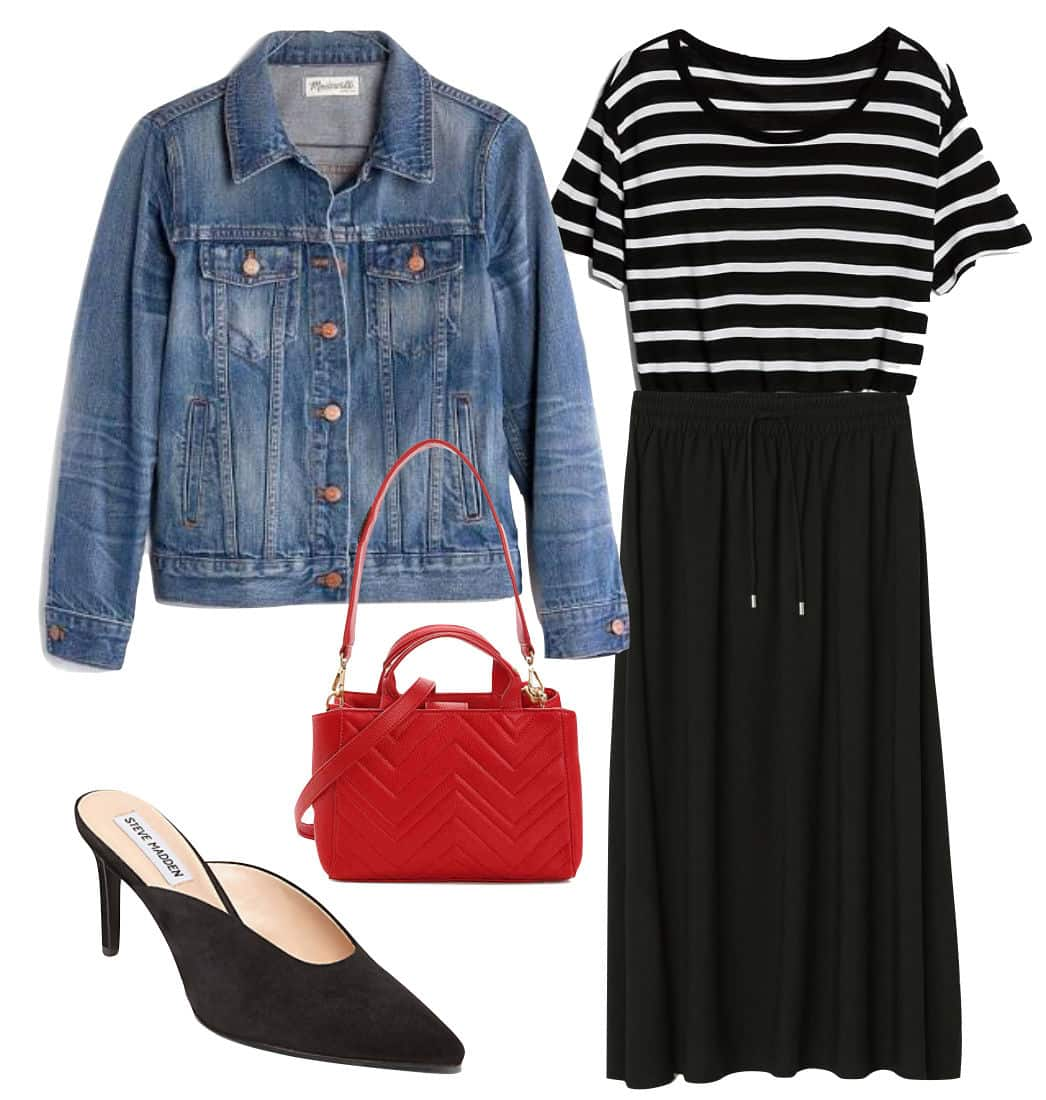Jessica Alba Outfit: medium wash denim jacket, black and white striped t-shirt, black midi skirt, red handbag, and black pointy toe mules