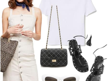Barbara Palvin Outfit: white t-shirt, cream button-front denim dress with a square neckline, black lace-up thong flat sandals, white oversized cat-eye sunglasses, and a contrast-stitch chainlink crossbody bag
