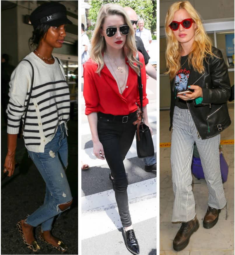Celebrity Street Style of the Week: Jasmine Tookes wearing a black cabby hat, a black and white striped sweater, ripped straight leg jeans, and leopard print flats, Amber Heard wearing aviator sunglasses, layered gold necklaces, a red button-down shirt, black skinny jeans, a black long strap bag, and black Oxford shoes, and Georgia May Jagger wearing a leather moto jacket, a black and red band t-shirt, red oversized sunglasses, striped flared pants, and lace-up combat boots