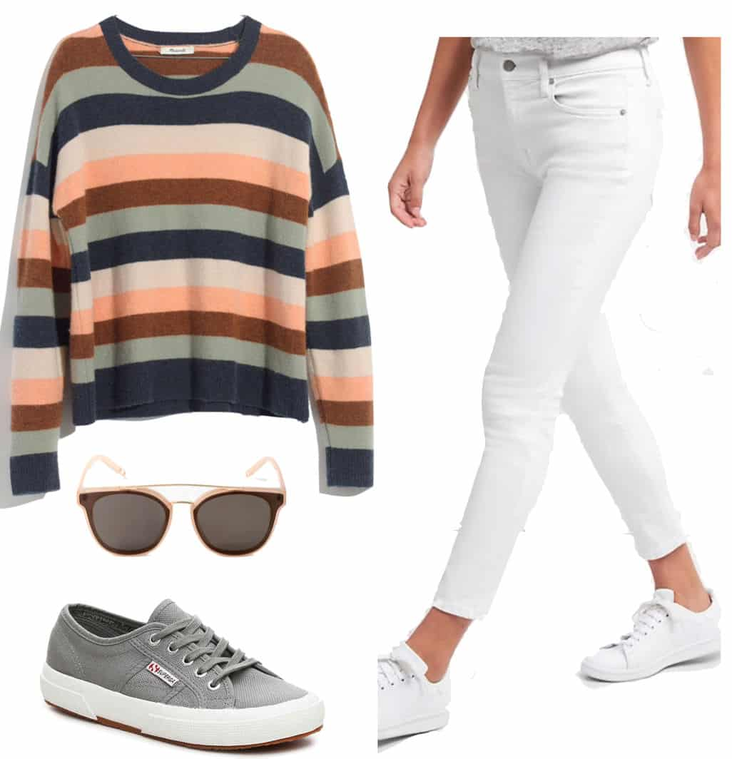 Alessandra Ambrosio Outfit: multicolor striped sweater, white ankle crop slim jeans, beige frame sunglasses, and gray low-top sneakers
