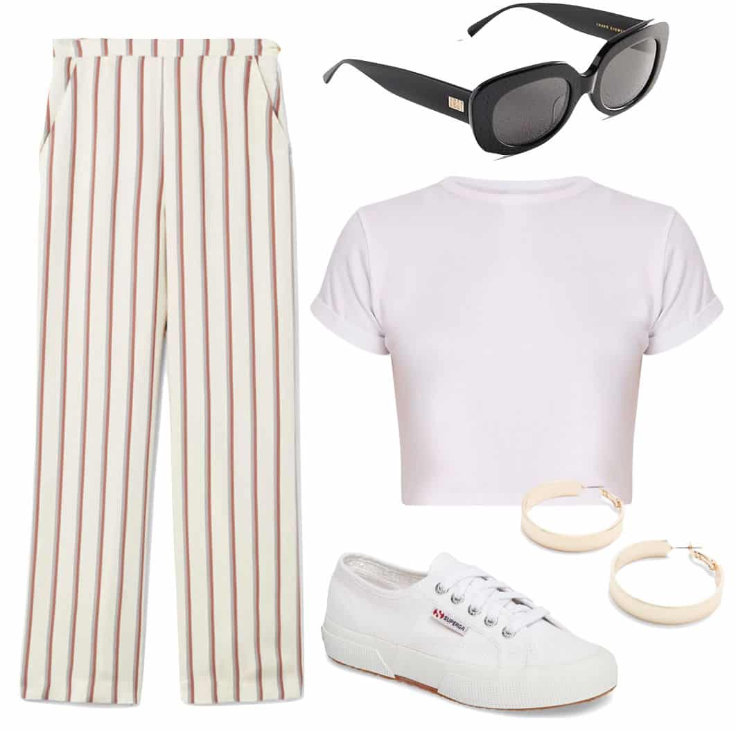 Emily Ratajkowski Outfit: white cropped t-shirt, red, white and blue striped straight leg pants, thick hoop earrings, chunky square sunglasses, and white low top sneakers