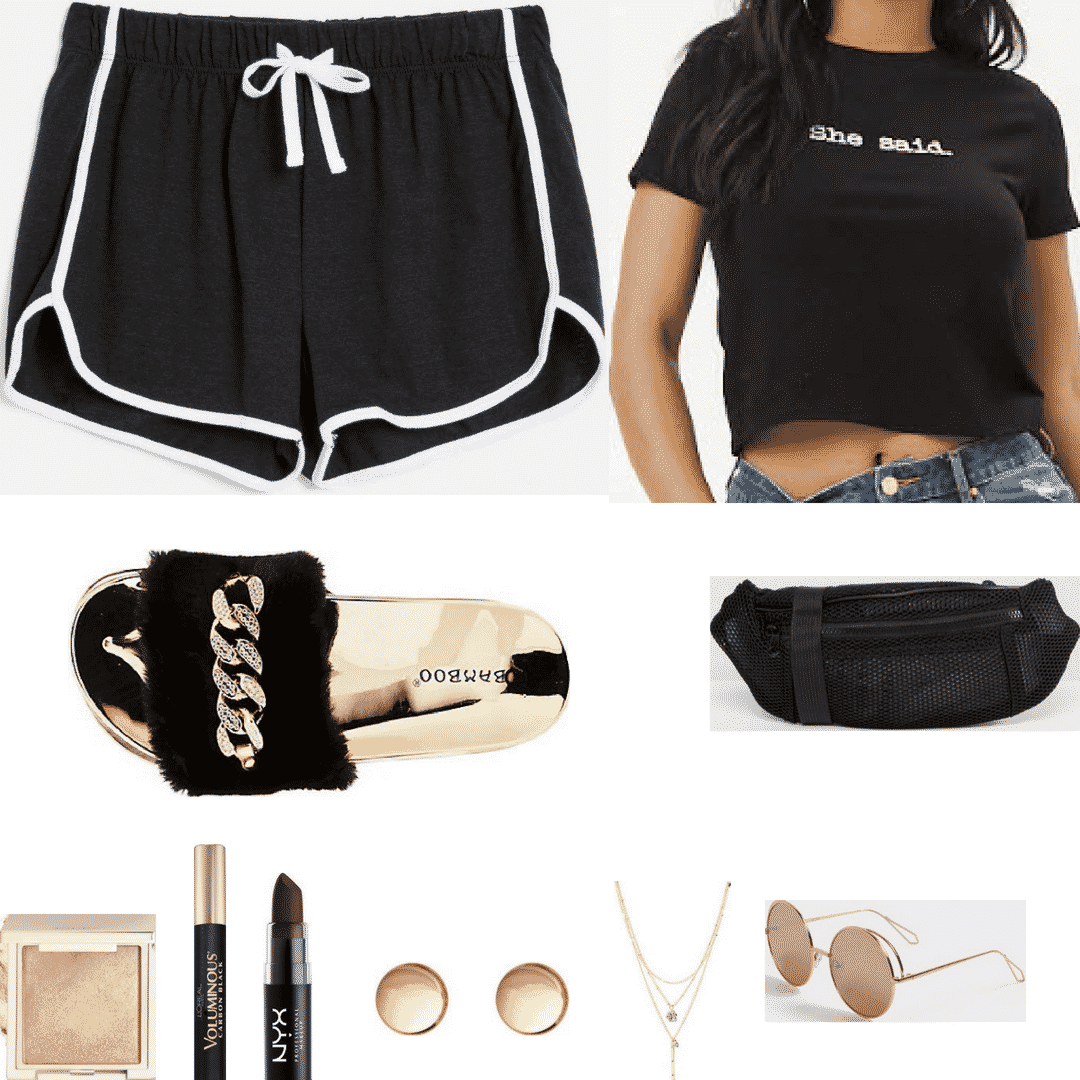 Faux fur slides outfit with black shorts, tee shirt, fanny pack