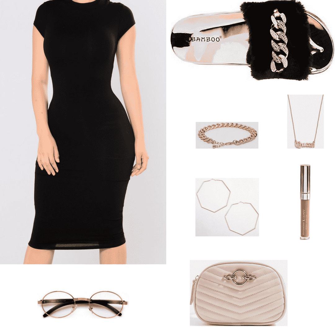 Faux fur slides outfit with black dress