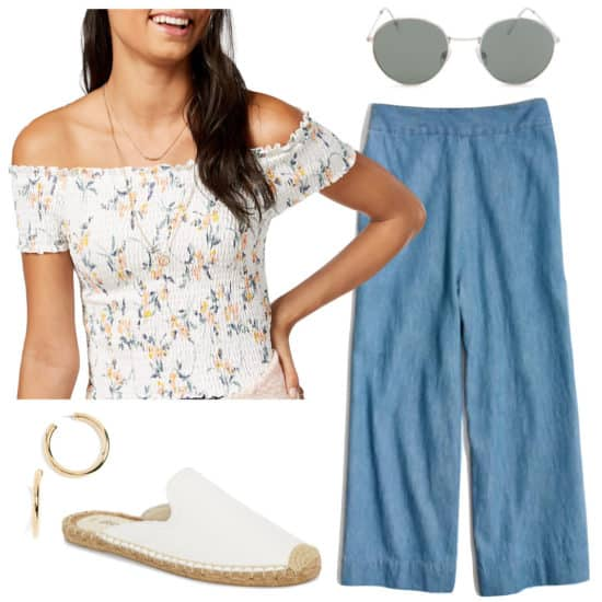 Selena Gomez Outfit: smocked floral print off the shoulder top, chambray cropped pants, round sunglasses, thick gold hoop earrings, white flat mules