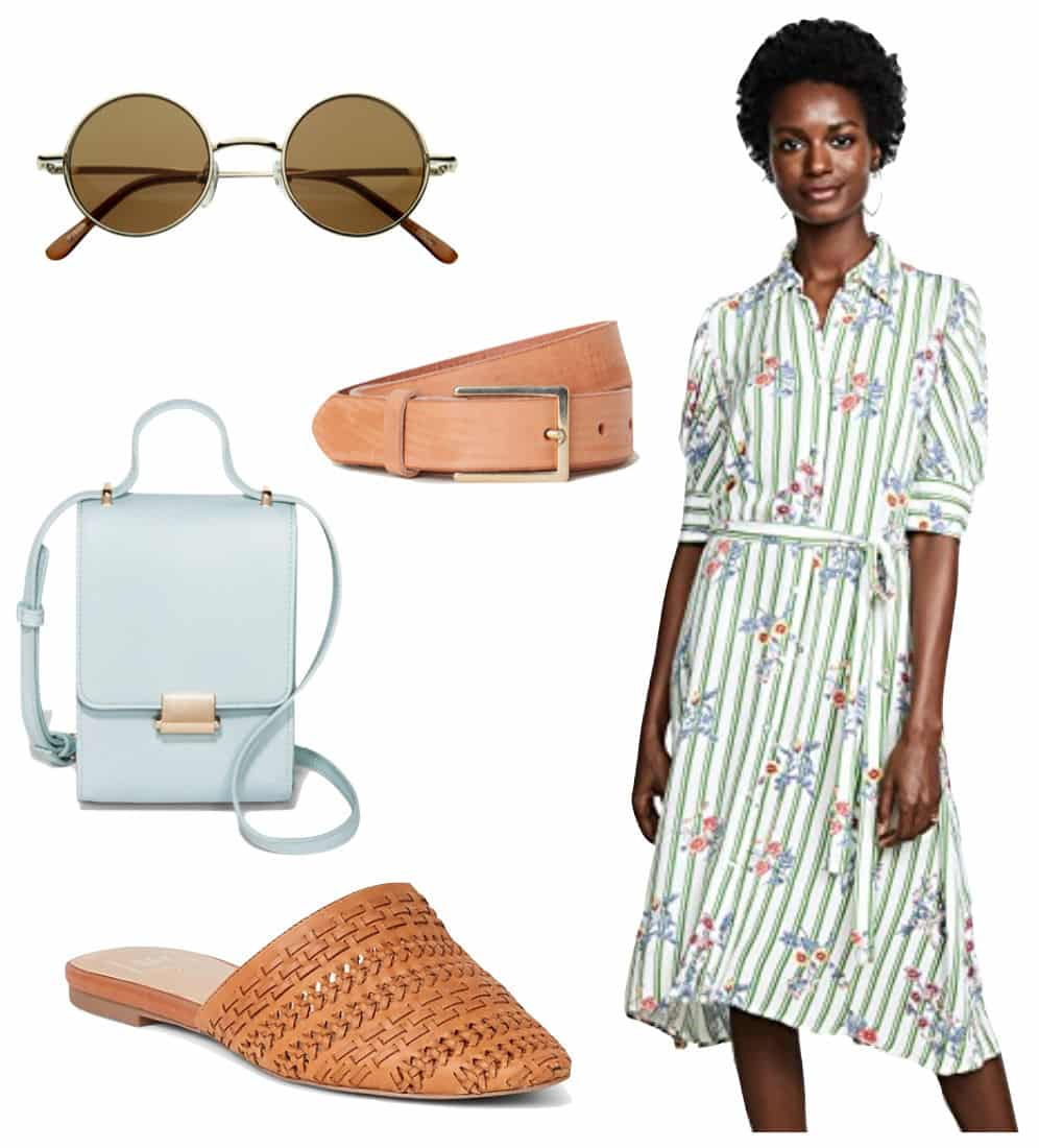 Gigi Hadid Outfit: floral print midi shirt dress, brown leather belt, round sunglasses, small mint green top handle bag, brown woven flat mules