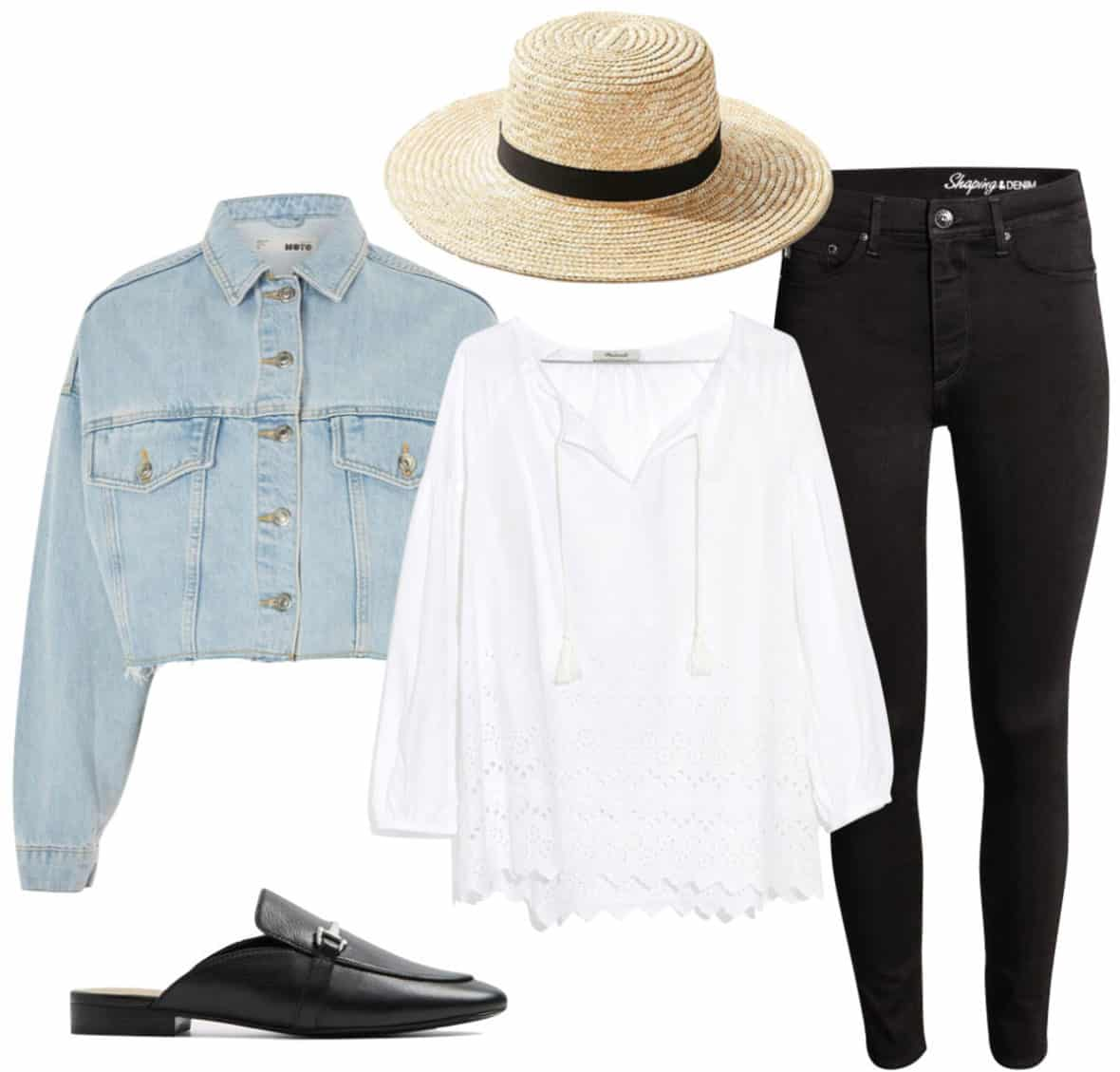 Hilary Duff Outfit: cropped denim jacket, straw boater hat, white eyelet blouse, black skinny jeans, and black loafer mules