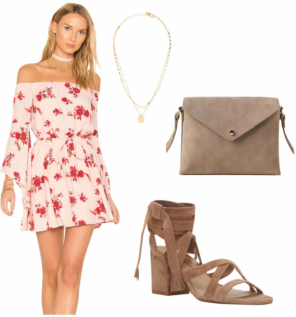 Jenna Dewan Outfit: pink floral print mini dress, gold pendant necklace, taupe crossbody bag, taupe lace-up block heel sandals
