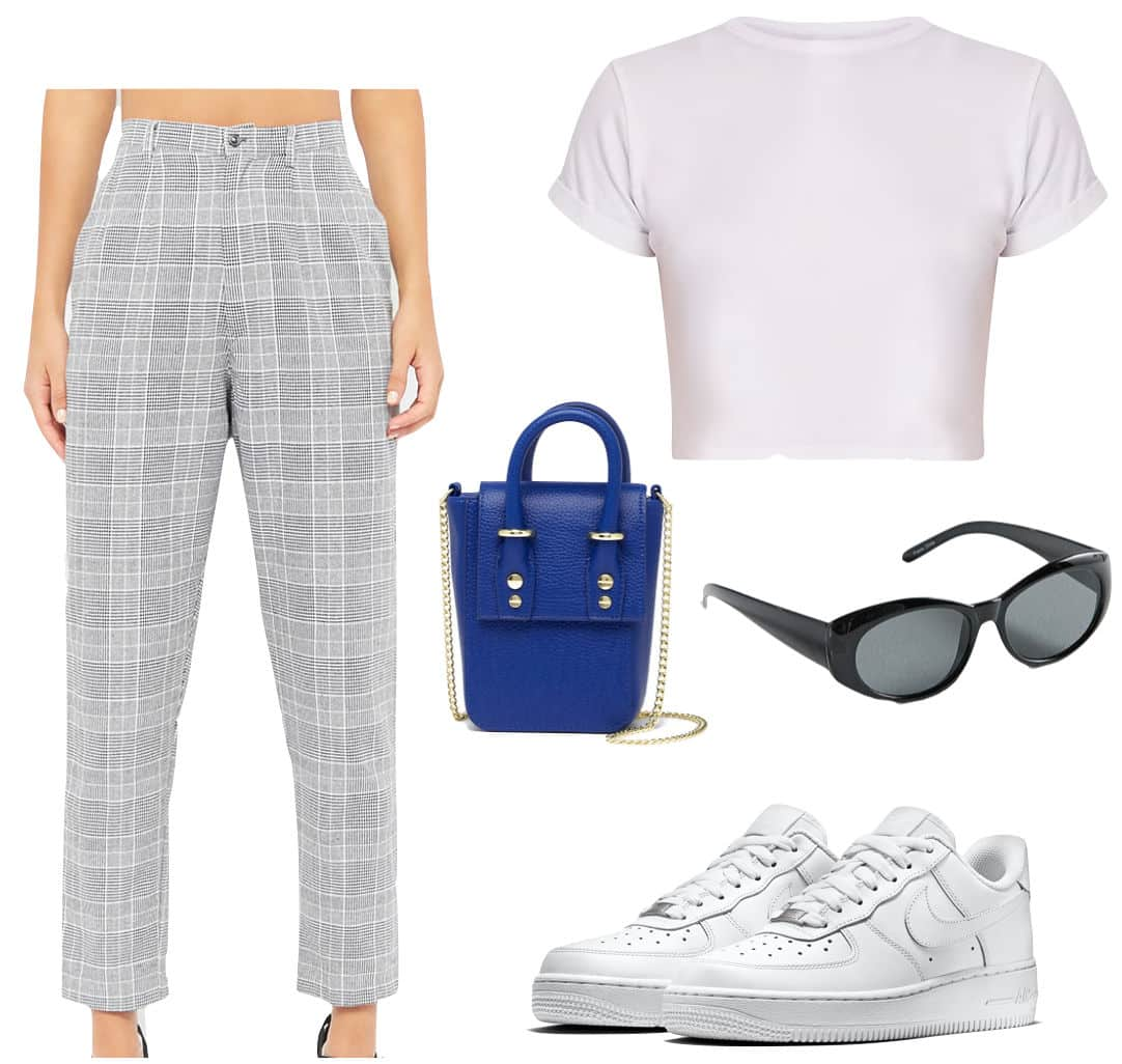 Madison Beer Outfit: cropped white t-shirt, gray plaid pants, black oval sunglasses, and a cobalt blue crossbody bag