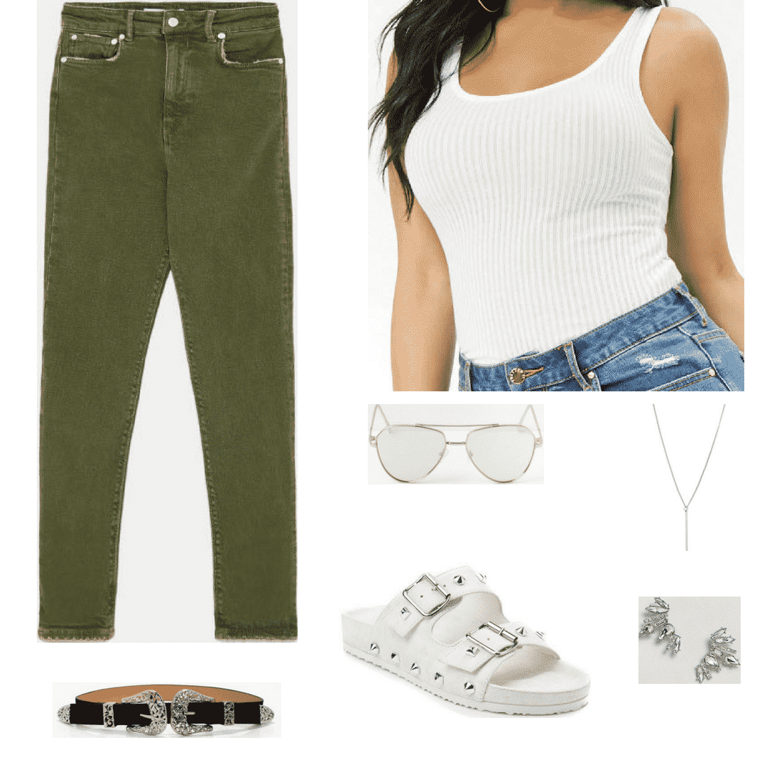 Olive jeans outfit for class with birkenstocks, belt, white tank, sunglasses